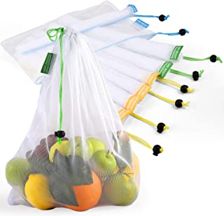 Reusable Produce Bags, Lavinrose Reusable Mesh Produce Bags with Drawstring & Tare Weight Tags, Durable Overlock-Stitched ...
