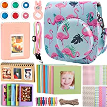 Case & Accessories Compatible with Fujifilm Instax Mini 9 8 8+ Instant Polaroid Film Camera, Bundle Pack Include Albums, Filters, Strap&Other Accessories [Flamingo,9 Items Kit] by SAIKA