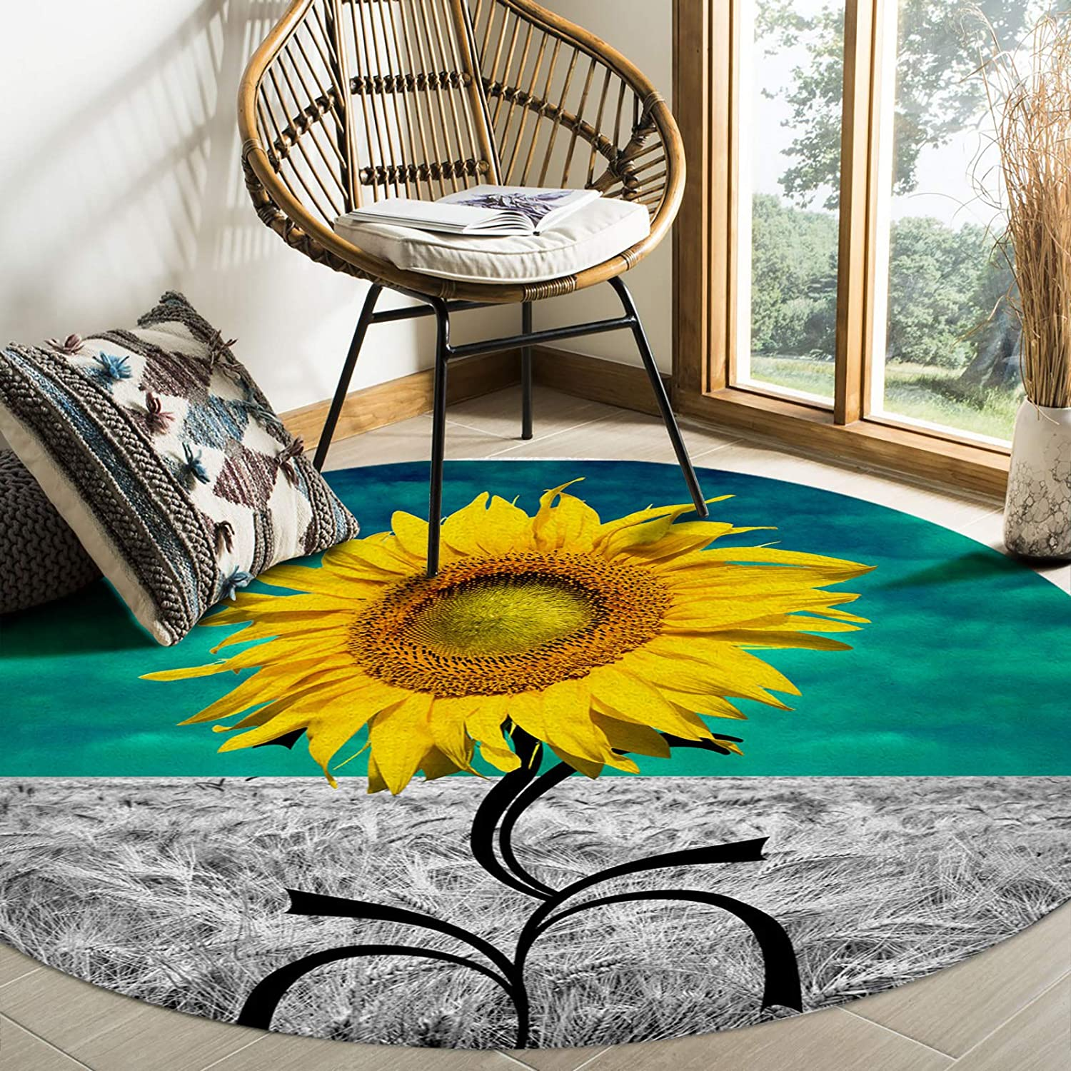 FAMILYDECOR 5 Some reservation popular Living Room Round Area Rug and Decorate Com 4ft Soft