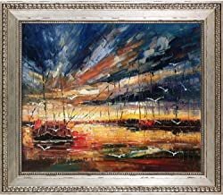 """ArtistBe Harbour Reproduction by Justyna Kopania Oil Painting, 26"""" x 30"""", Versailles Silver King Frame"""