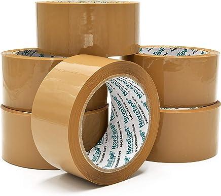 NOVOTAPE Rubans adhésif d'emballage 48mm x 66m, Marron de couleur. Lot de 6 Rouleaux. Parfait pour fermer et sécuriser les cartons de déménagement et emballages lourd