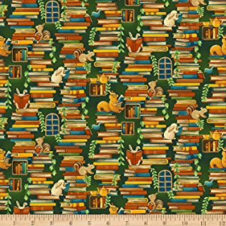 Paintbrush Studios Forest Fables Stacked Books Orange Green Quilt Fabric By The Yard