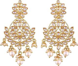 Aheli Indian Ethnic Wedding Wear Chandelier Pearl Beaded Dangle Earrings Bollywood Party Fashion Jewelry for Women