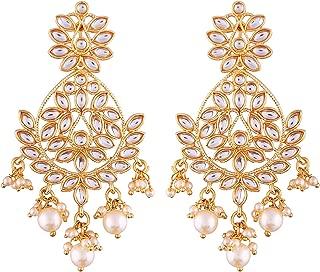 Indian Ethnic Wedding Wear Chandelier Pearl Beaded Dangle Earrings Bollywood Party Fashion Jewelry for Women