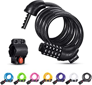 YIZHUO Bike Lock Cable 4 Feet High Security 5 Digit Resettable Combination Coiling Bike Cable Lock Bicycle Cable Lock for ...