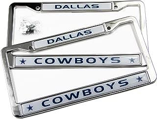 MT-Sports Football Team Logo 2 Pcs Car Licenses Plate Frames 2 Holes Stainless Steel