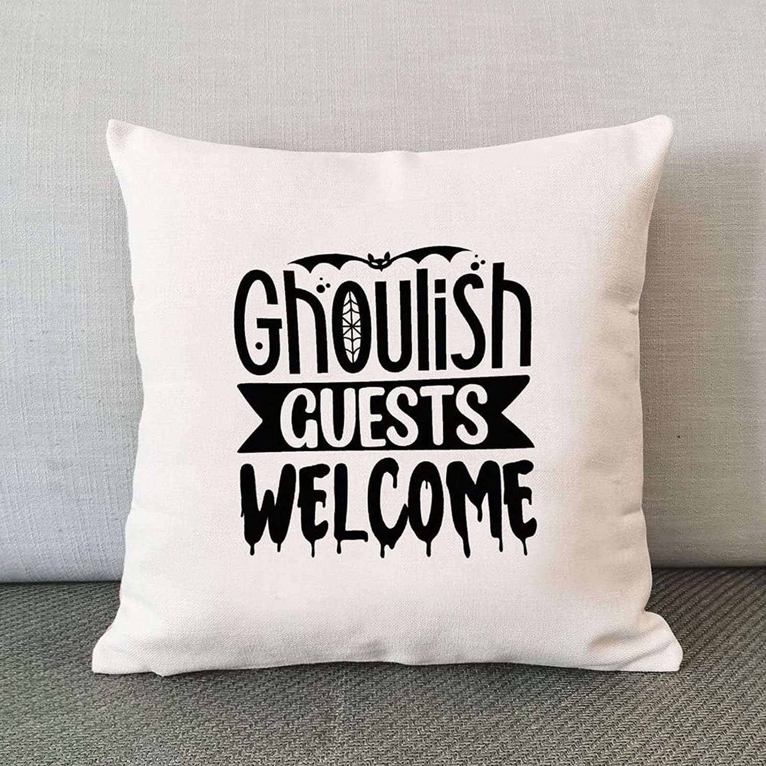 Halloween Throw Ranking TOP18 Pillow Cover Cheap mail order shopping Ghoulish Cov Cushion Guests Welcome