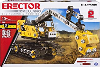 Erector by Meccano 2-in-1 Excavator and Bulldozer Model Set, STEM Education Toy for Ages 10 & Up