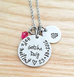 Gotcha day Necklace, Personalized Adoption Necklace, Gift for Adoption