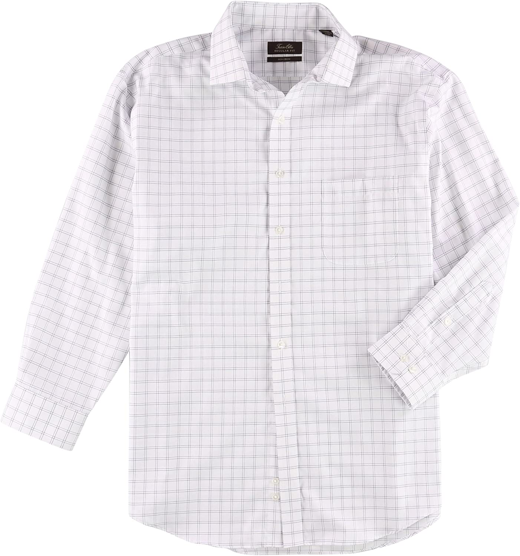 Tasso Elba Mens Pocket Grid Button Up Dress Shirt