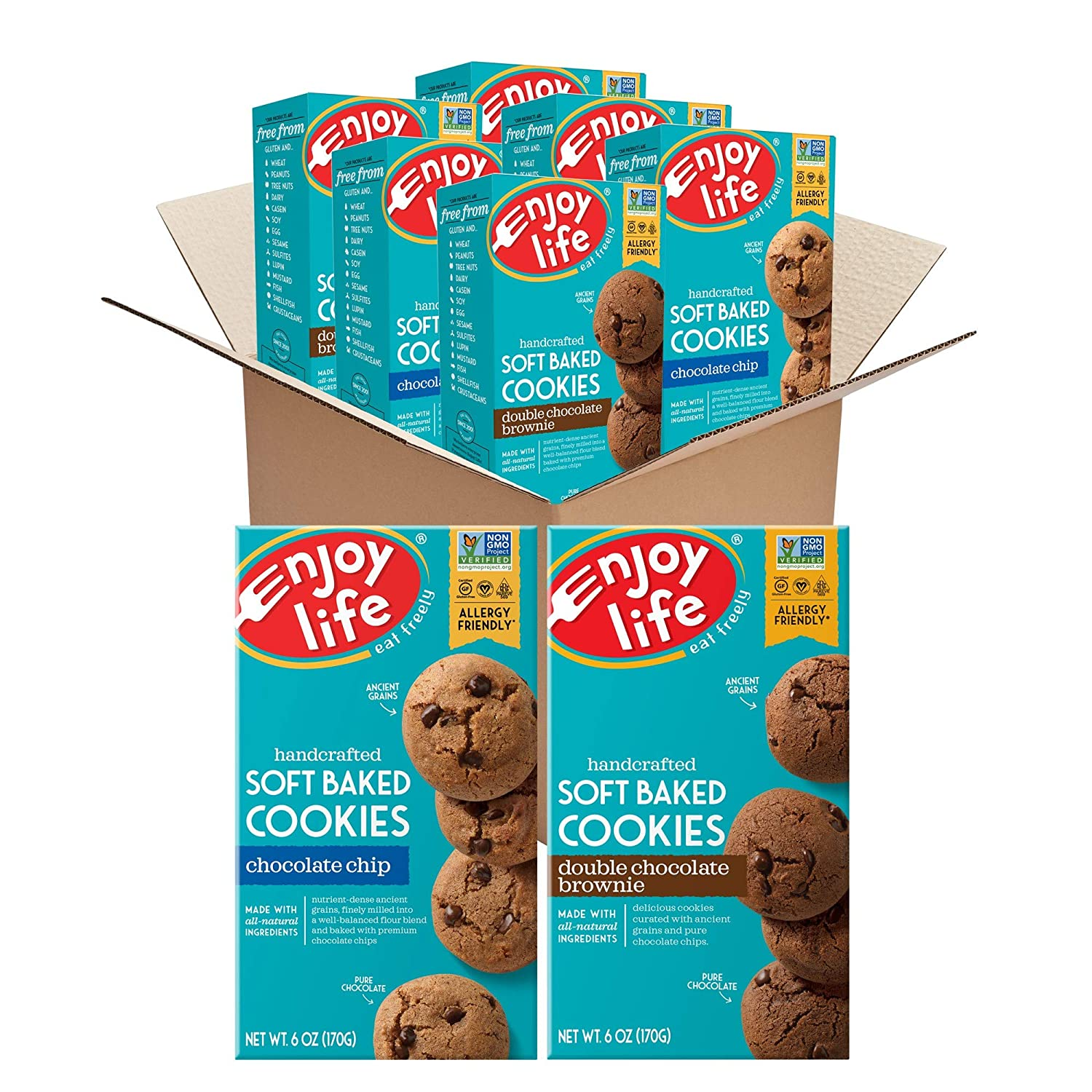 Enjoy Life Foods Enjoy Life Soft Baked Cookies, Chocolate Chip & Double Chocolate Brownie Bundle, Soy Free, Dairy Free, Non GMO, Gluten Free, Vegan, Nut Free Cookies, 6 Boxes, 3Count