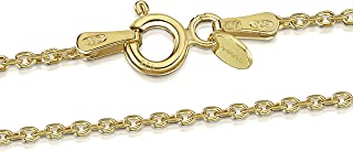 Amberta 18K Gold Plated on 925 Sterling Silver 1.3 mm Diamond Cut Trace Chain Necklace