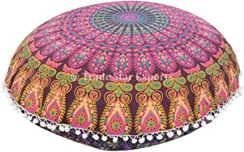Trade Star Exports Large 32 Round Pillow Cover, Decorative Mandala Pillow Sham, Indian Bohemian Ottoman Poufs, Pom Pom Pillow Cases, Outdoor Cushion Cover (Pattern 8)