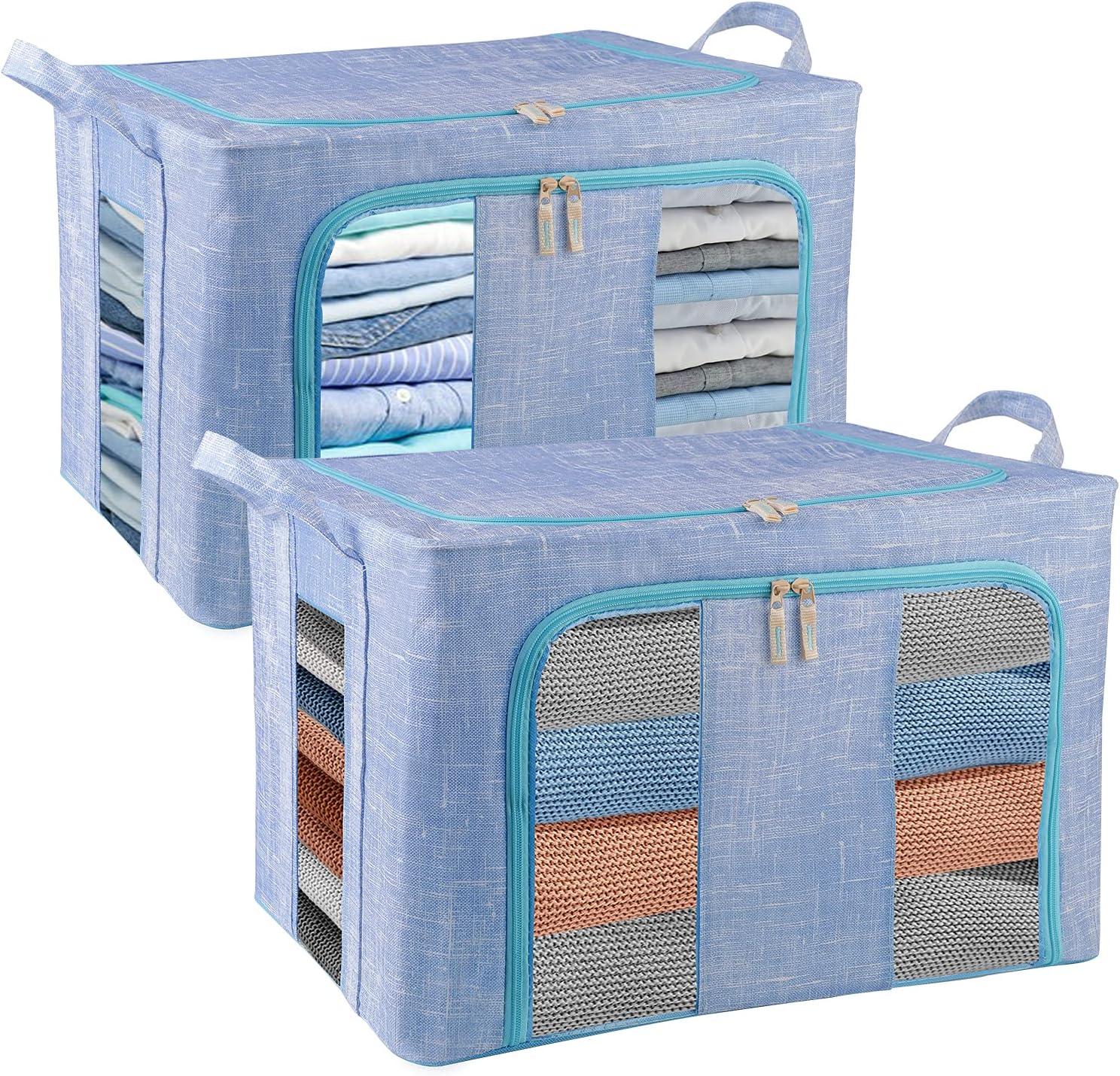 Japan's largest assortment COSIFO Blue San Francisco Mall Clothes Storage Boxes Foldable 2PC La Organizer 66L