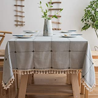 Mokani Washable Cotton Linen Solid Embroidery Checkered Design Tablecloth, Rectangle Table Cover Great for Kitchen Dinning Tabletop Buffet Decoration (55 x 55 Inch,Cyan)