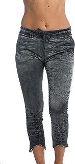 Röhren-Hose mit Army-Print und Glanz-Effekt