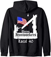 Union Ironworkers Local 40 American Flag NY Zip Hoodie