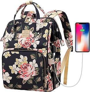 کوله پشتی لپ تاپ ، شیک 15.6 اینچ کوله پشتی سفر کسب و کار با کابل USB شارژ ، کوله پشتی کامپیوتر در مدرسه Daypack کالج مقاوم در برابر آب برای دختران زن (الگوی گل)