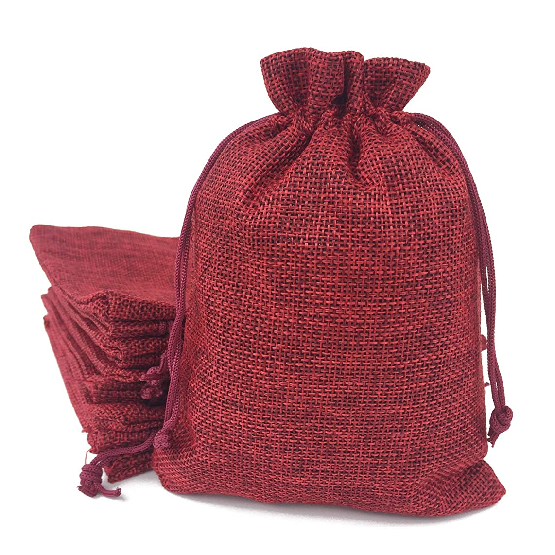 50PCS Burlap Favor Gift Bags with Drawstring and Cotton Lining (13X18CM, 05 Red)