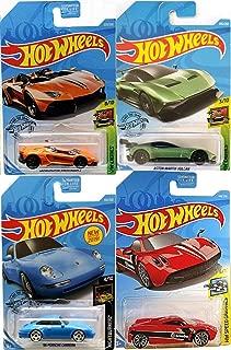 Hot Wheels Carrera Blue Edition Bundled with Porsch '96 / Lamborghin Aventador J / Aston Martin Vulcan / Pagani Huayra Red Speed Die-Cast Models 4 Items