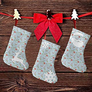 Christmas Stocking,3Pcs Classic Socks for Xmas Home Decor,Doodle Blooms Leaves Gardening Lily Pansy Peony Protea Flourishing Growth Motif,Stuffed Tree Hanging Toys,Candy Gift Bag Holders for Kids