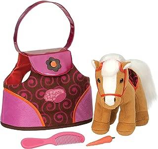 Pucci Pups by Battat – Beige Plush Horse with Dark Pink Swirl-Pattern Carrier Purse