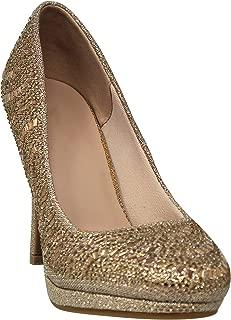 MVE Shoes Women's Rhinestone Open Toe Heeled Sandal - T Strap Party Dress Pumps - Formal High Heeled Sandals