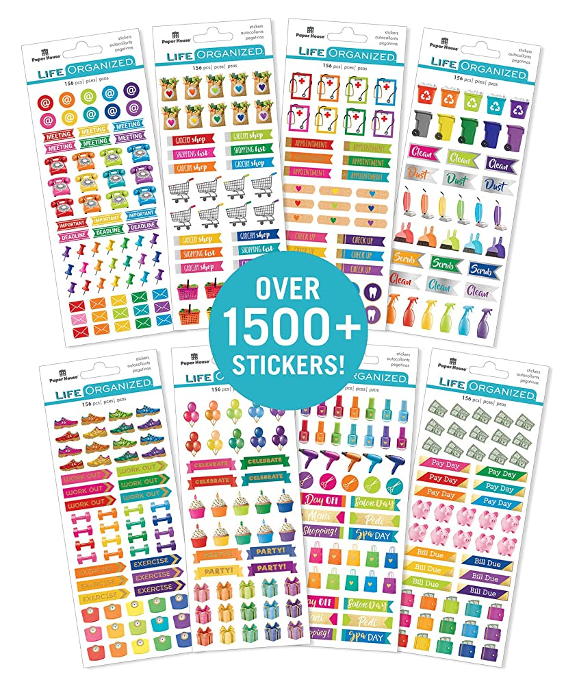 Paper House Productions SET-0008E Functional Icons Planner Bundle Includes 32 Sheets 8 Themes Over 1500 Stickers