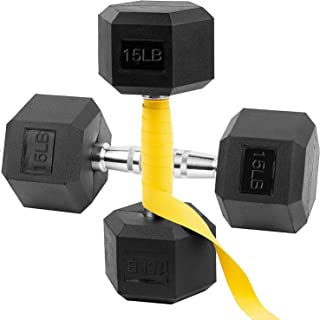 Dumbbell Weight SET 2x 15lb Rubber Encased Hex Hand **In Hand Ready To Ship**