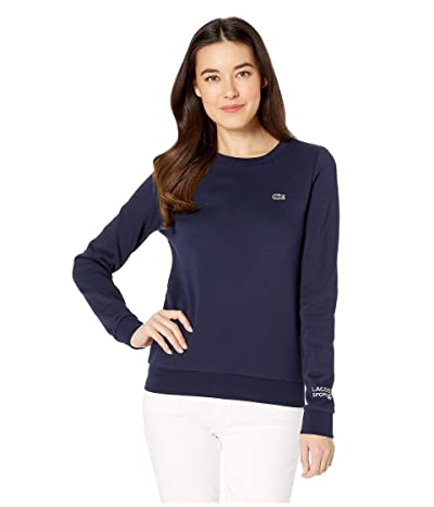Lacoste Long Sleeve Fleece Crew Neck Sweatshirt (Navy Blue) Women