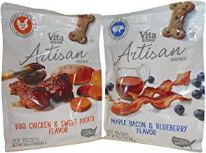 Vita Bone Artisan Inspired Dog Biscuits (BBQ Chicken & Sweet Potato Flavor and Maple Bacon & Blueberry Flavor) 2 Pack