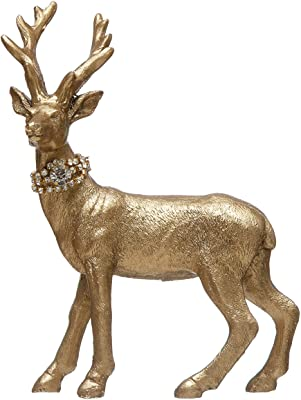 """Creative Co-Op 4-1/2""""L x 2"""" W x 6"""" H Resin Standing Deer w/Crystal Collar, Gold Finish Figures and Figurines, Multi"""
