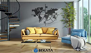 RestinART Geometric World Map World Map Wall Art 3D Wall Silhouette Metal Wall Decor for Living Room Home Office Decoration Bedroom Contemporary Decor Sculpture (55