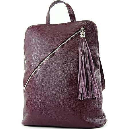 modamoda de - T161- ital Damen Rucksacktasche 3in1 aus Leder