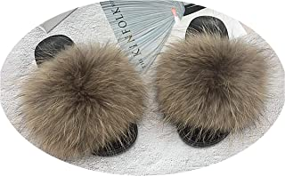 92a4592d0 Women's Fur Slipper Real Raccoon Fur Fox Fur Slippers Beach Slides Fashion  Style Furry Slides Soft