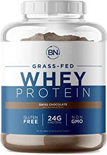 Grass Fed Whey Protein Chocolate 5lb - 100% Pure and Natural - 5lb/60 Servings - 24g Protein - Cold Processed Undenatured ...