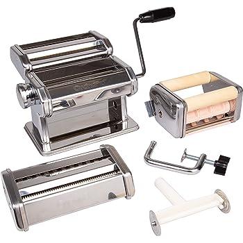 CucinaPro Pasta Maker Deluxe Set 5 Piece Machine with Spaghetti Fettucini, Angel Hair, Ravioli, Lasagnette Attachments