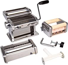 Pasta Maker Deluxe Set- Machine w Attachments for 5 Authentic Pastas- Spaghetti, Fettucini, Angel Hair, Ravioli, Lasagnette All in One
