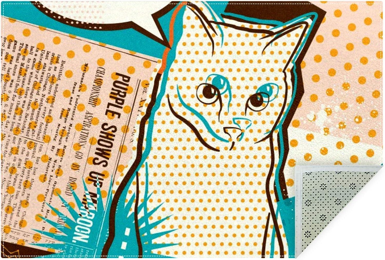 Popular standard Unicey Long Beach Mall No-Shedding Non-Slip Machine Washable Art Rectang Cat Pop