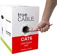 trueCABLE Cat6 Riser (CMR), 1000ft, Red, 23AWG 4 Pair Solid Bare Copper, 550MHz, ETL..