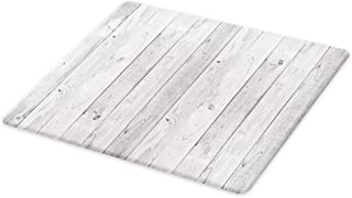 Lunarable Grey Cutting Board, Picture of Smooth Oak Wood Texture in Old Fashion Retro Style Horizontal Nature Design Home, Decorative Tempered Glass Cutting and Serving Board, Large Size, Grey