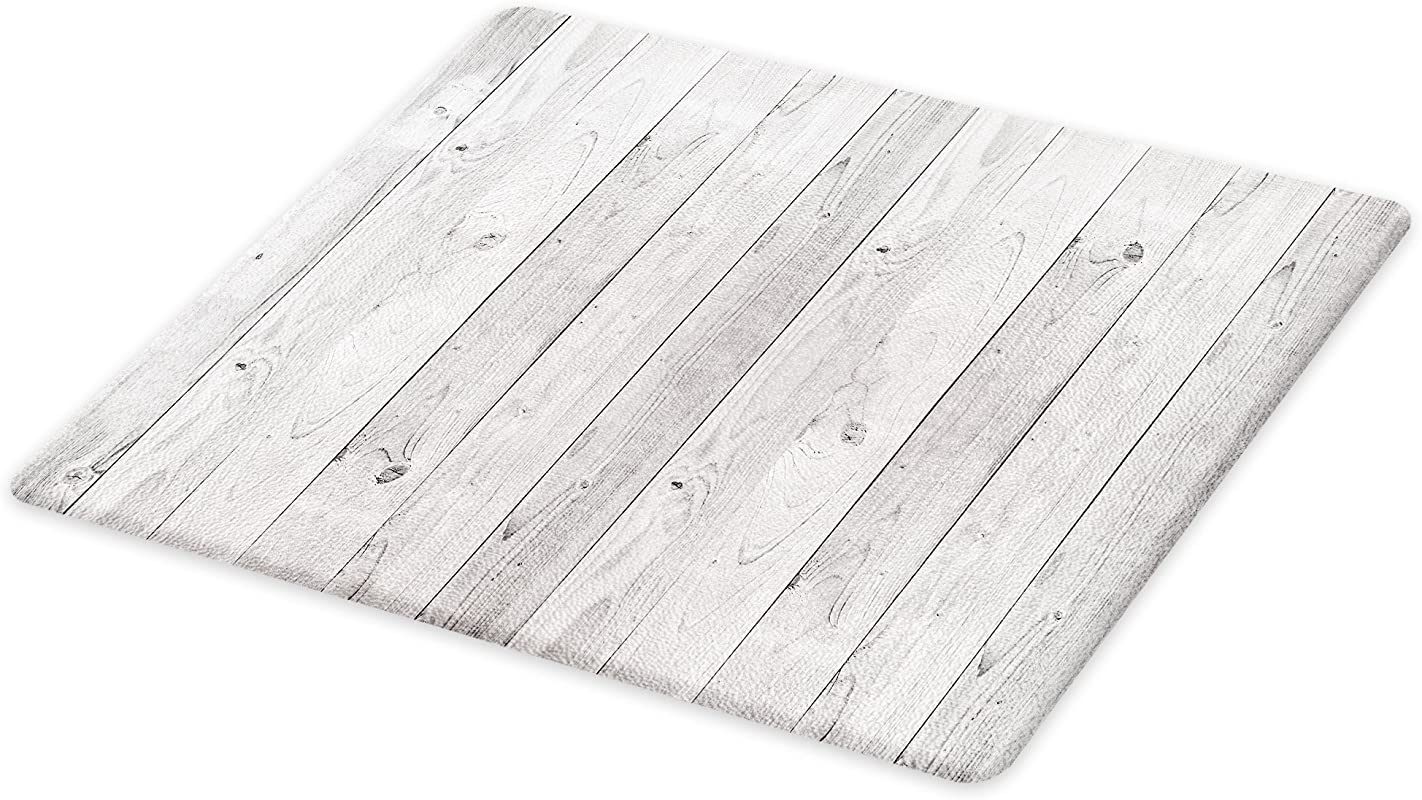 Lunarable Grey Cutting Board Picture Of Smooth Oak Wood Texture In Old Fashion Retro Style Horizontal Nature Design Home Decorative Tempered Glass Cutting And Serving Board Large Size Grey