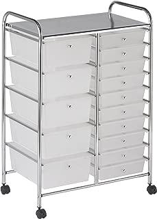 ECR4Kids 15-Drawer Mobile Organizer, White