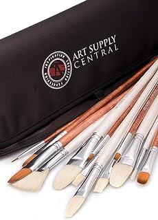 comprar comparacion Juego de pinceles de 14 piezas hecho a mano, 7 pinceles de cerdas naturales y 6 pinceles sintéticos, estuche incluido
