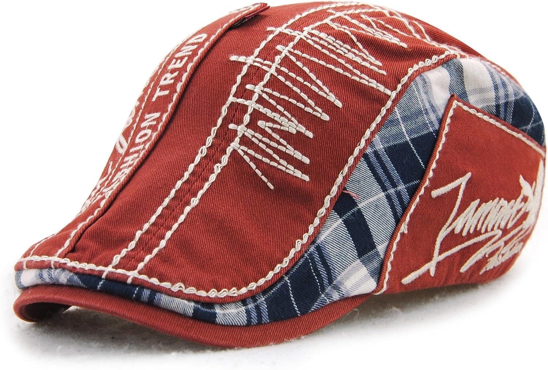 Unisex Letters Embroidery Plaid Beret Hat Casquette Flat Visor Newsboy Cap