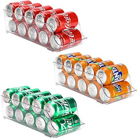Puricon Frigo 3Pièces pour Boisson, Soda, Coca Cola, Bière, Organisateur de Réfrigérateur, Tiroir Distributeur de Canettes
