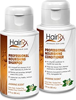 HairRx Professional Nourishing Shampoo & Conditioner Travel Set, Light Lather, Jasmine Scent, 2 Ounce Bottles