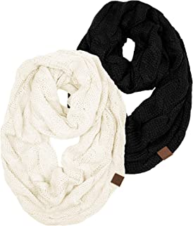 's Beanies Matching Ribbed Winter Warm Cable Knit Infinity Scarf