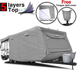 RVMasking Heavy Duty 5 Layers Top Travel Trailer RV Cover, Fits 22'1