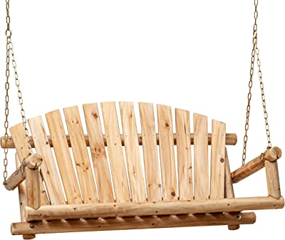 Anjor 800lbs Rustic Hanging Log Porch Swing Wood with Chains Heavy Duty 4 Ft, Lightly Toasted